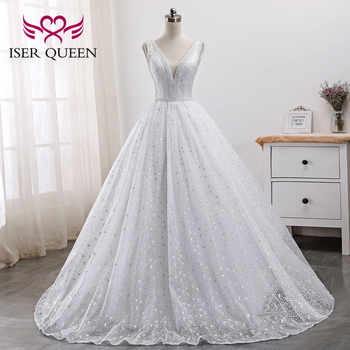 Pearls Beads Embroidery White Bridal Dress Arab Wedding Dresses 2019 New Sleeveless Pretty Lace Princess Wedding Gown WX0005 - DISCOUNT ITEM  33% OFF All Category