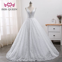 Pearls Beads Embroidery White Bridal Dress Arab Wedding Dresses 2020 New Sleeveless Pretty Lace Princess Wedding Gown WX0005