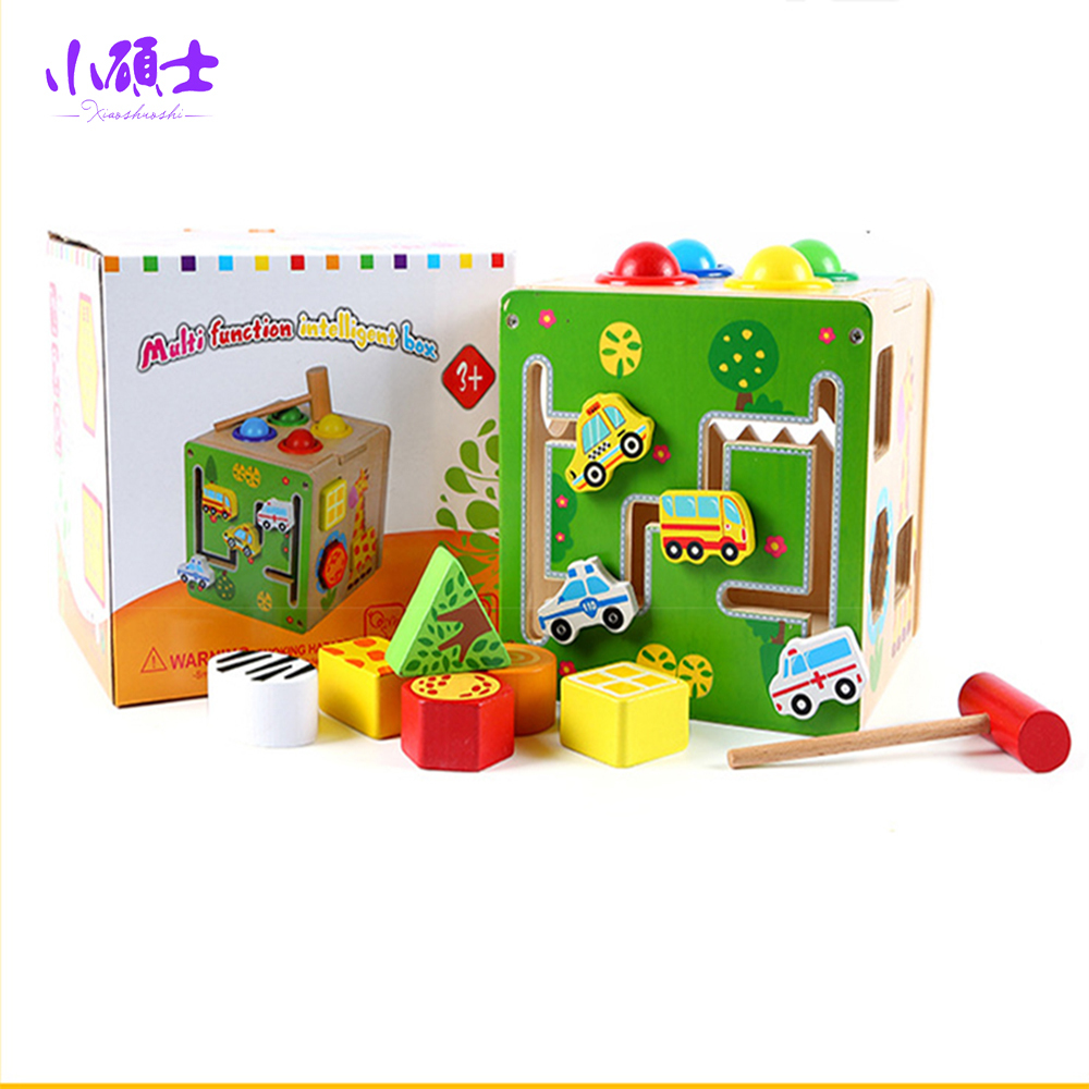 Wooden Multifunctional Intelligence Box <font><b>Sharping</b></font> Matching Learning Early Education Intelligence Developing Game <font><b>Puzzle</b></font> Toys Gift
