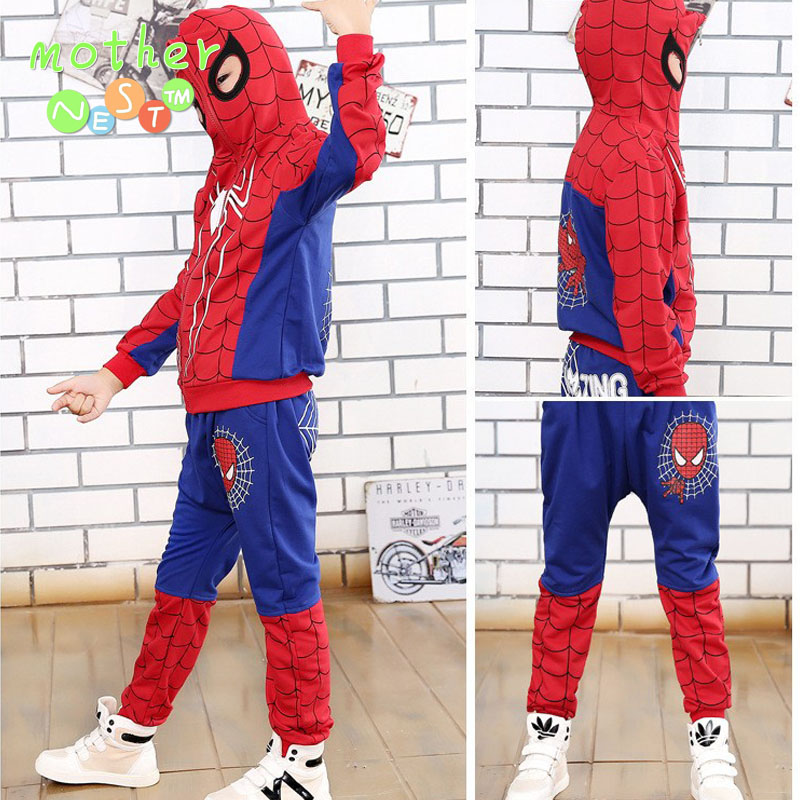 2017 Spiderman Baby Boys Clothing Sets Cotton Sport Suit For Boys Clothes Spring Spider Man Cosplay Costumes KIds Clothes Set BT