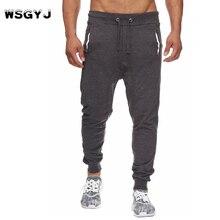 ФОТО wsgyj 2018 new simple clothes men's fashion solid color elastic belt casual joggers pants men trousers designer male sweatpants