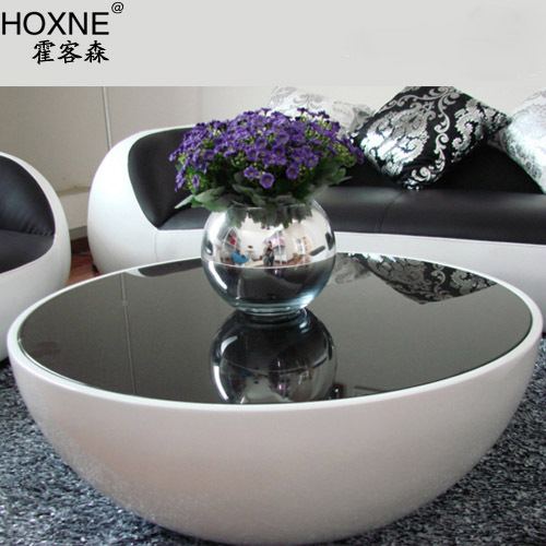 Huo Sen Ideas Off White Round Bowl Shaped Coffee Table Gl And Steel Fashion To Storage