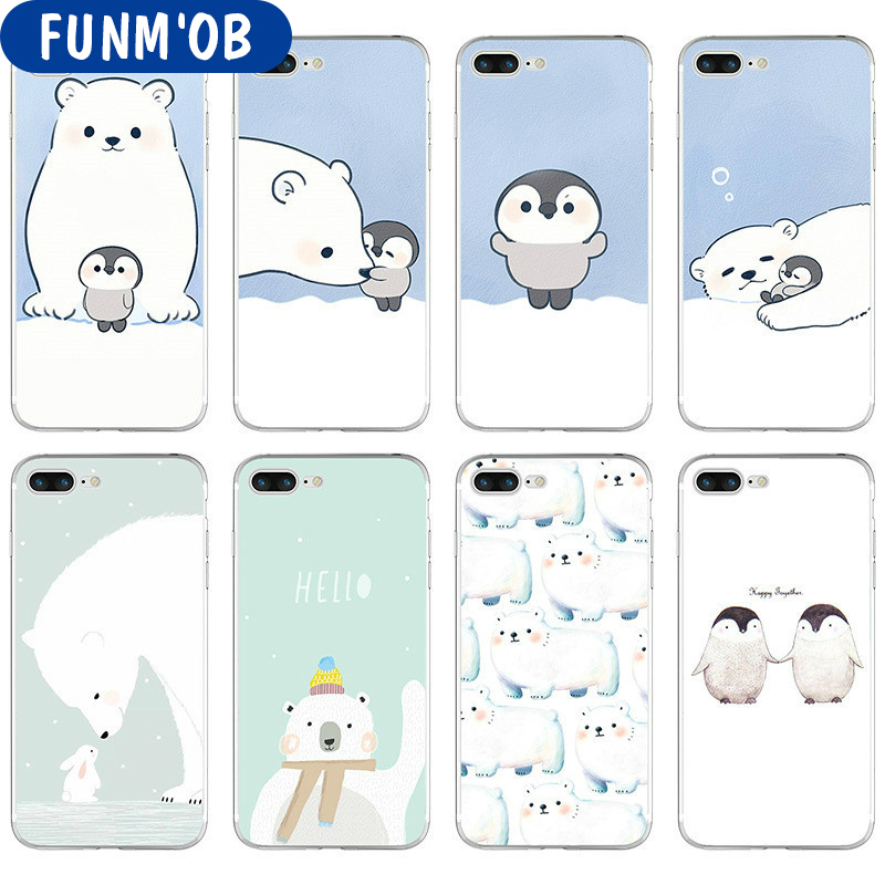 FUNM'OB Lovely Polar Bear Penguin Soft Silicone Clear TPU Case Cover For iphone 6 6S 7 8 Plus 5 5s SE X Phone Cases Coque Fundas