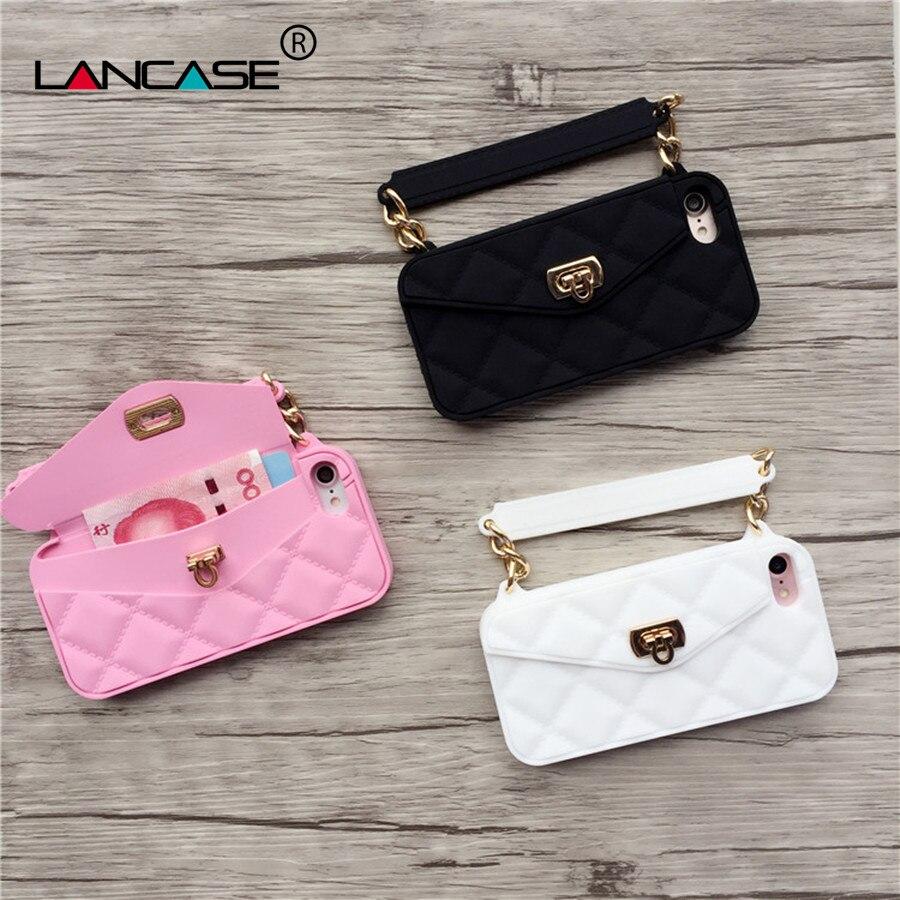 Цена за Lancase 4.7 дюймов для iPhone 7 Чехол роскошные Для женщин Обувь для девочек сумки карты Слоты Кошелек сумка чехол для iPhone 7 силикон Чехол кошелек