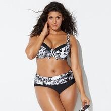 Plus size print bikini push up high waist swimwear large sizes patchwork bathing suit plus size high waist swimsuits women
