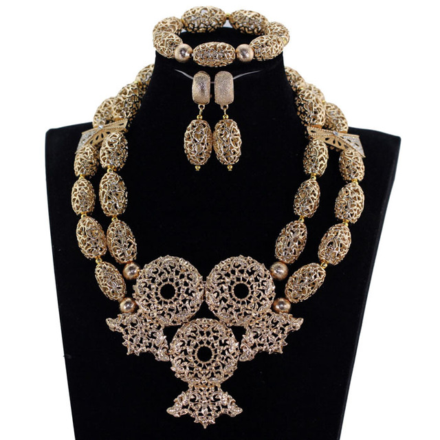 Fantastic Copper Alloy African Jewelry Sets Chunky Wedding Statement Necklace Set Dubai Party Jewelry QW1244 nylon rope alloy statement necklace set