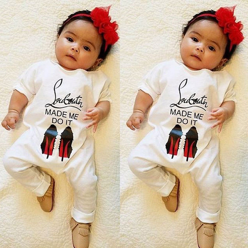 Baby Boy Girls Letter Rompers Long Sleeve Cotton Jumpsuit Basic Baby Clothes For Home Wear