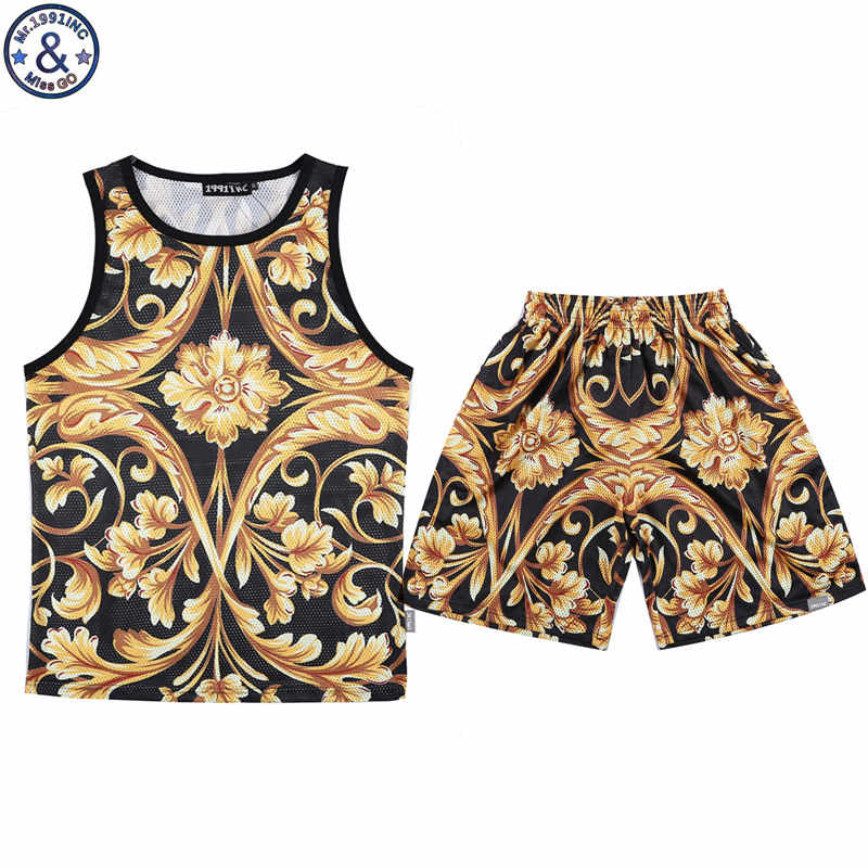 6db7820071a6 Newest 3D Men s Sets Tank Top + Shorts Set Male Summer 3D golden Flowers  Printed Sportsuit