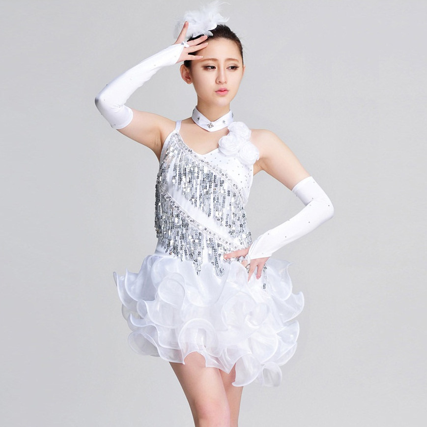 Picture of 2016 Women Fashion Tuxedo Latin Dance Dress Customize White/Blue Girl Tassel Sequins Rumba Samba Tango Dance Competition Dress