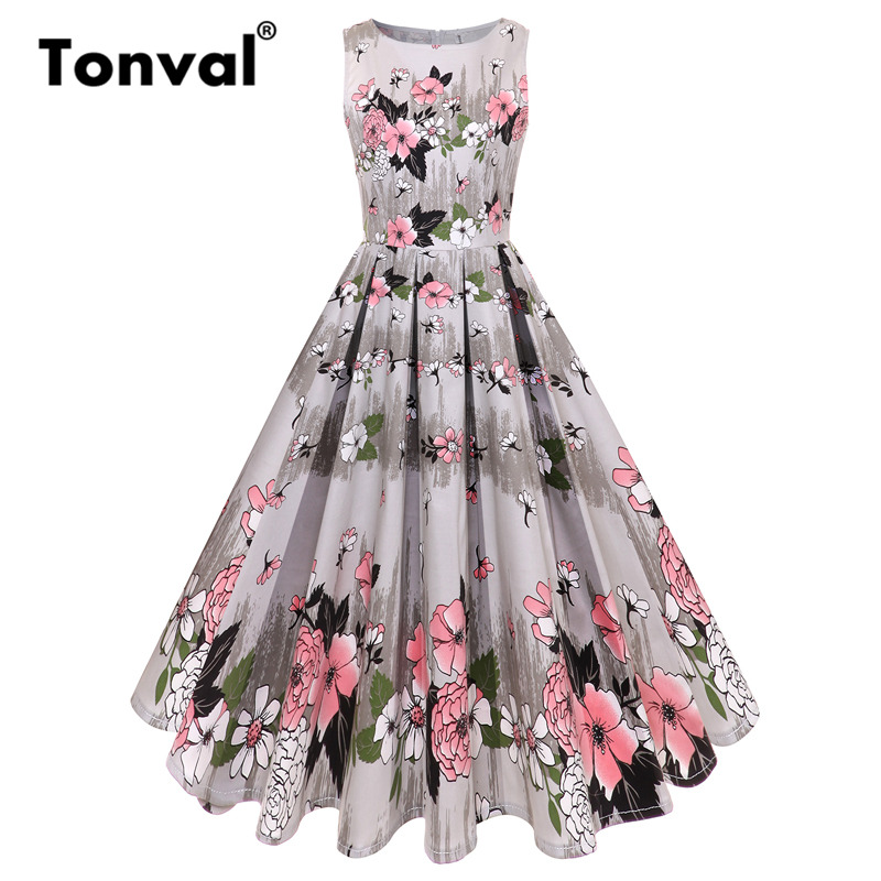 Tonval Gorgeous Floral Pleated Dress Women 50S Retro Flower Dresses Female Summer Cotton Swing Dress 2018 New
