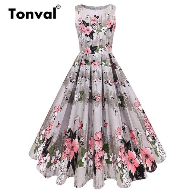 Tonval Gorgeous Fl Pleated Dress Women 50s Retro Flower Dresses Female Summer Cotton Swing 2018