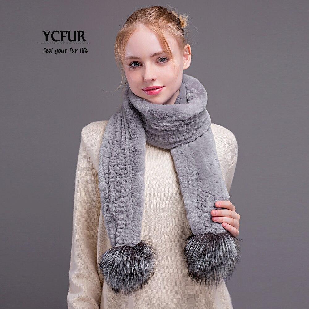 [YCFUR] Women's Scarves Wraps Winter Handmade Knit Rex Rabbit Fur Long Scarf with 2 Silver Fox Fur Poms Scarves Shawls Female