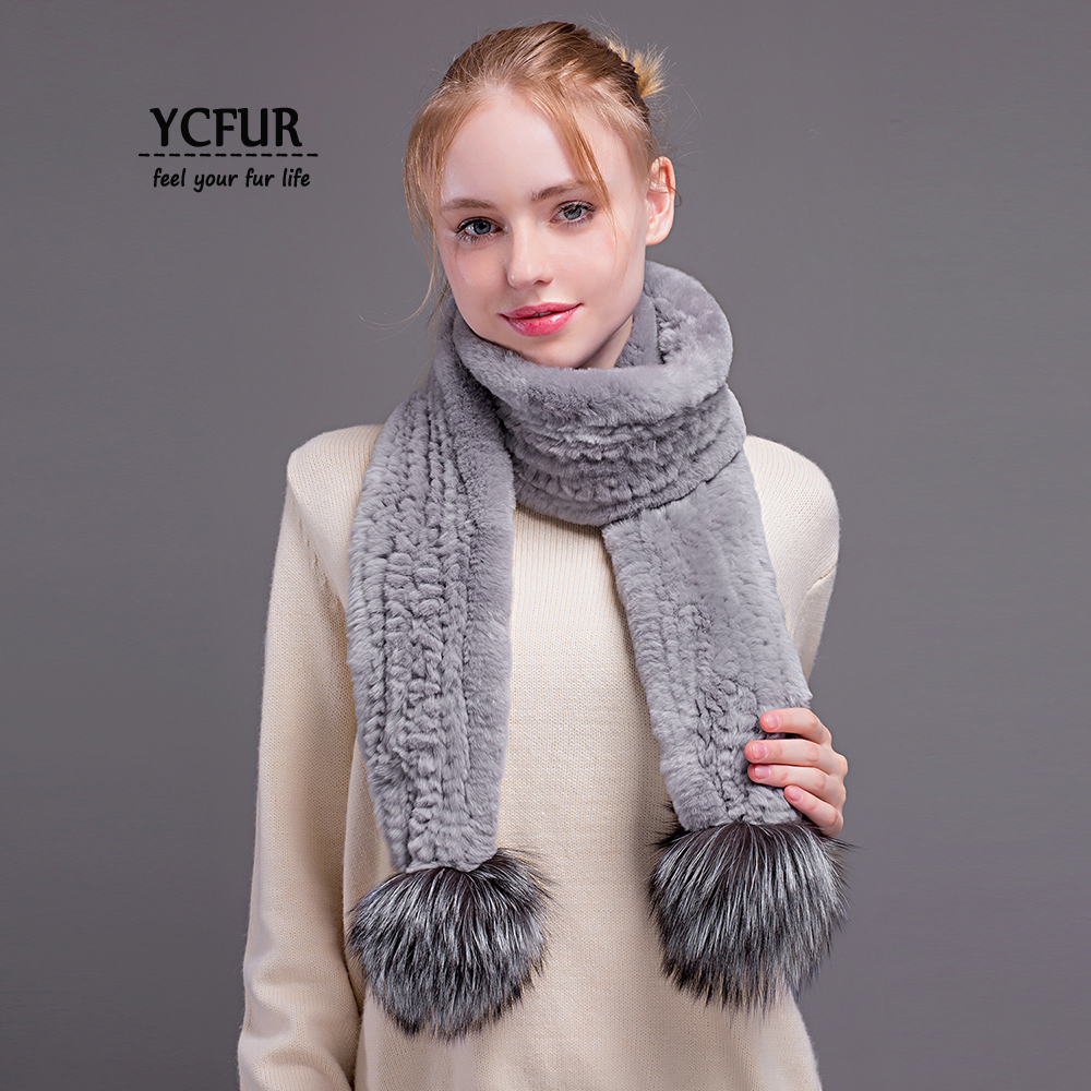 [YCFUR] Women's   Scarves     Wraps   Winter Handmade Knit Rex Rabbit Fur Long   Scarf   with 2 Silver Fox Fur Poms   Scarves   Shawls Female