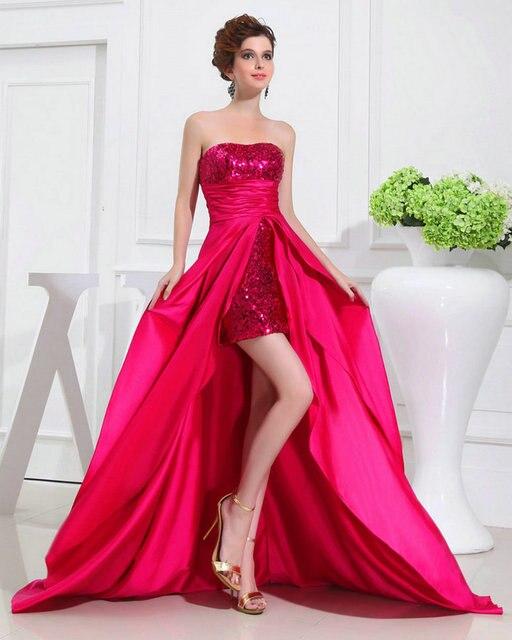 REAL MODEL Short In Front Long Back Prom Dresses 2017 Fuchsia ...