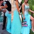 Sexy vestidos de baile raja del lado atractivo de la sirena 2017 de la moda largo rebordear cristalino sirena correa de espagueti de la gasa azul prom dress