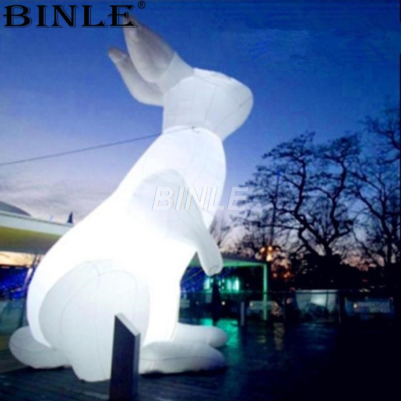 Attractive giant stand up white lighting inflatable rabbit model easter bunny large events animal cartoon for decoration