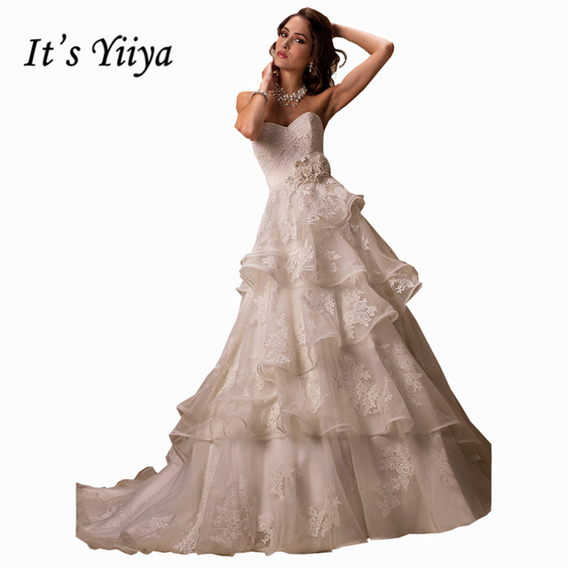 Its YiiYa Off White Sleeveless Strapless Wedding Dresses Bling Beading Crystal Appliques Luxury Lace Tiered