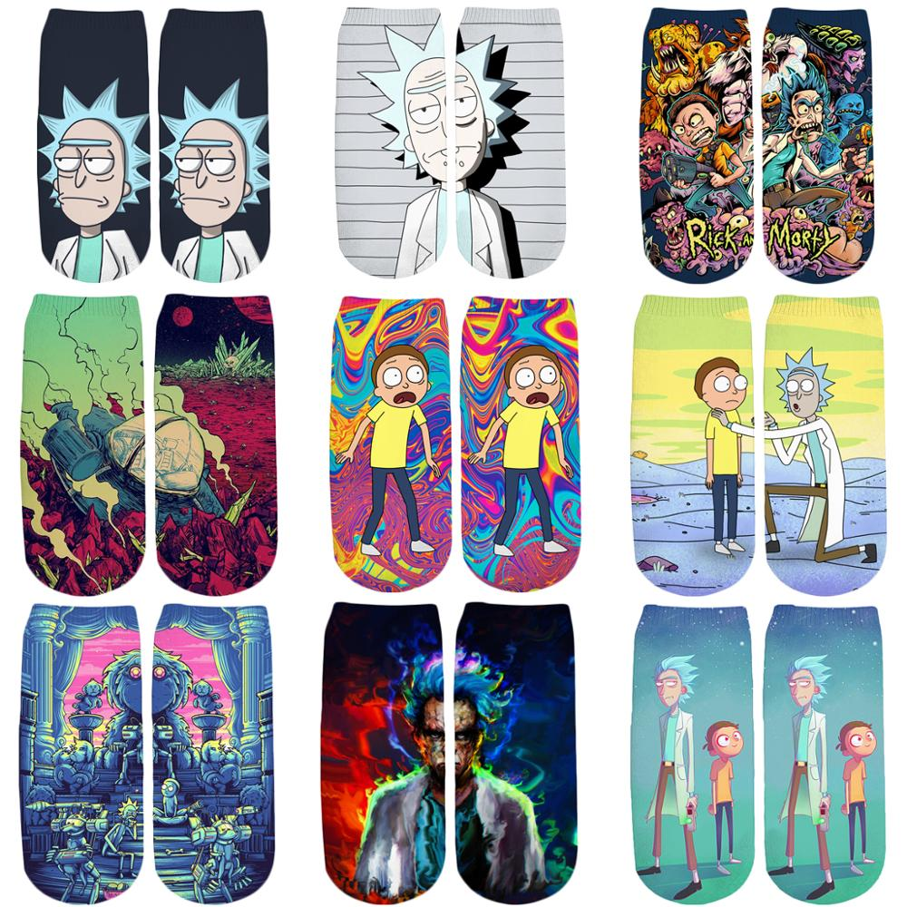 PLstar Cosmos 2019 New 3D Printed Cartoon Rick And Morty Cute Short Ankle Socks For Men Women Harajuku Korean Socks WZ033