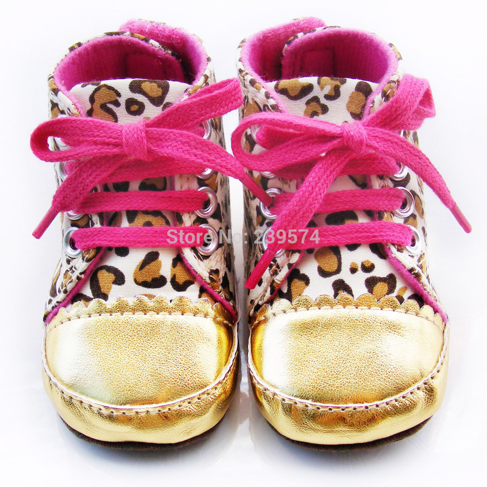 Cute Baby Shoes Girl Infant Toddler Leopard Gold Crib ...