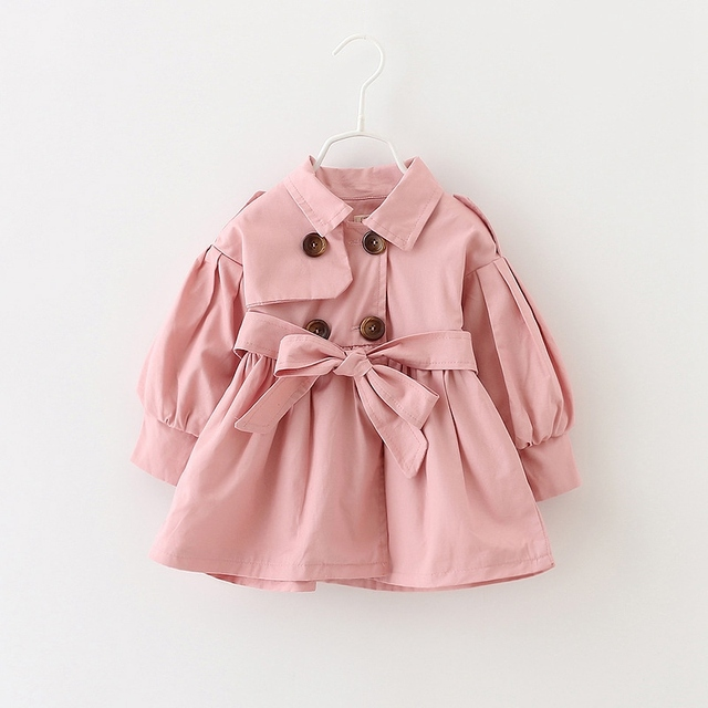 Autumn Girls Double Breasted Cardigan Infants Baby Kids Princess Coat Children Outwear Coats Belted Trench Casacos S3885