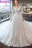 Robe de marie 2019 ТРАПЕЦИЕВИДНОЕ кружевное Тюлевое деревенское свадебное платье с длинными рукавами с v образным вырезом на шнуровке сзади vestido de