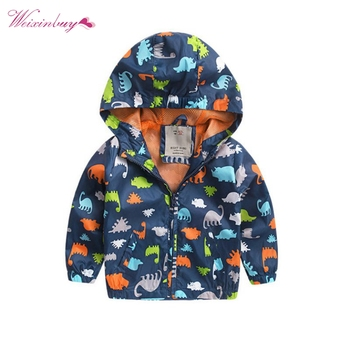 Baby Boy Autum Winter Cute Pattern Long Sleeve Softshell Jacket Kids Active Hooded Coat 2-6 Years QF фото