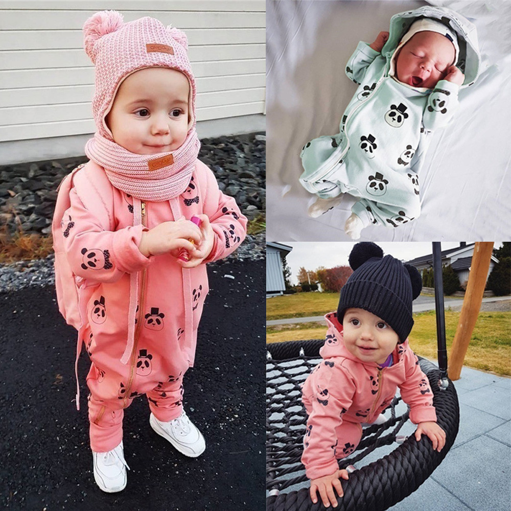 Winter Toddler Infant Baby Boy Girl Panda Cartoon Hooded Rompers Outfit Clothes