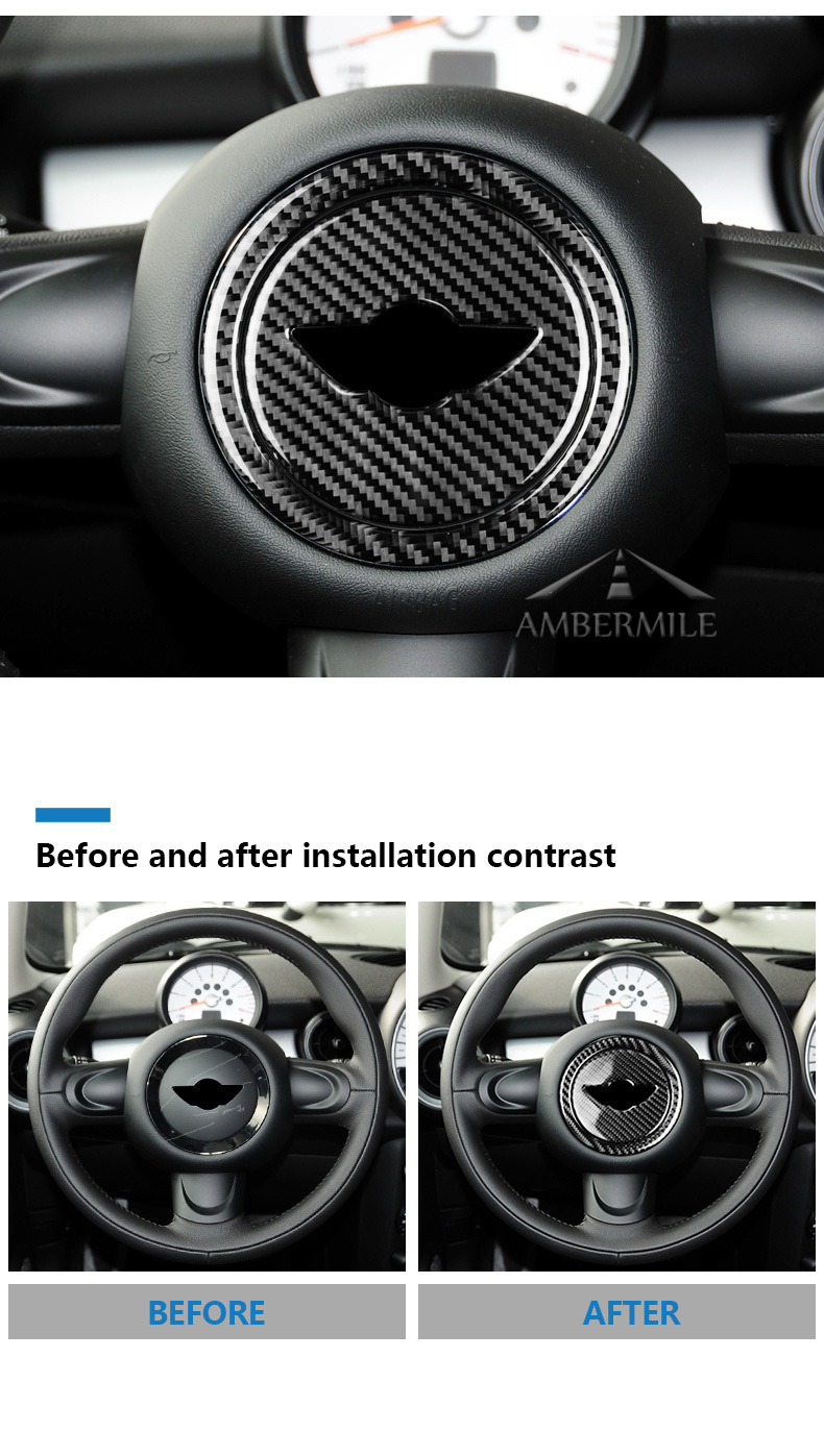 Carbon Fiber Steering Wheel Stickers Cover Trim for Mini Cooper Clubman R55 R56 Countryman R60 Paceman R61 Accessories (3)
