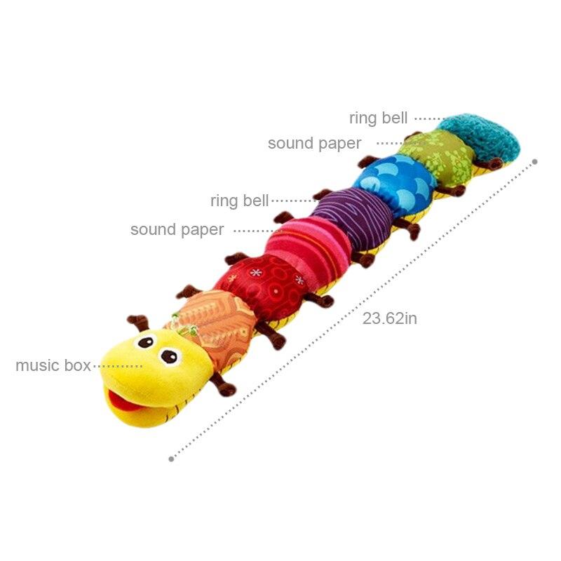 Детские игрушки Музыкальные вещи Caterpillar кольцо колокол милый мультфильм животных плюшевые куклы раннего обучения Развивающие игрушки для ...