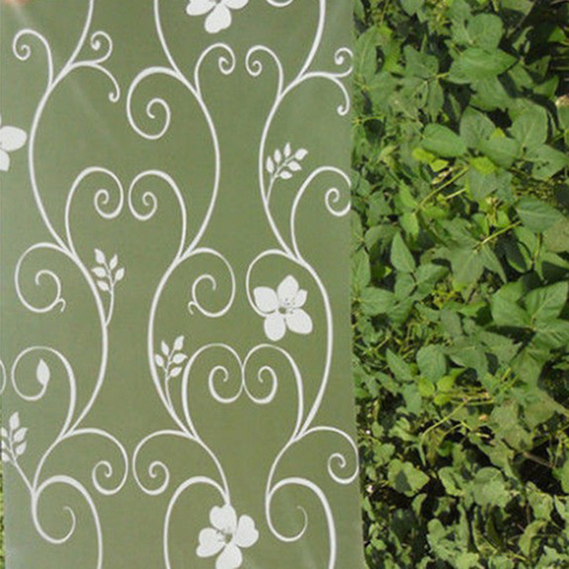 pvc privacy frosted window film waterproof floral flower decorative glass sticker 45200cm home room - Frosted Window Film