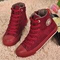 Бесплатная доставка зима высокого верха обуви холст женщины плоские обувь повседневная обувь, чтобы согреться