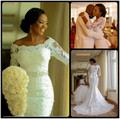 2017 New Fashion Nigerian 3/4 Long Sleeve Applique Lace Mermaid Wedding Dresses With Crystals Off The Shoulder Bridal Dress
