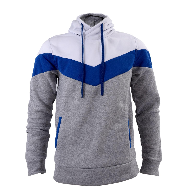 MAKE Hot Man Boy Sweat Hoodie Hooded Coat Jacket High Collar Jacket Hooded shirt Velvet gray