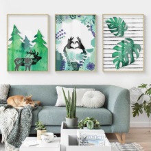 Green Plant Northern Europe Sitting Room Modern Printing Decorated Draw Type Art Picture Home Decor Framework Decoration
