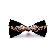NEW Novelty Wedding Party Polyester Bowtie Noeud Papillon Men Groom gentleman Bow Tie luxury Metal wings Neckwear