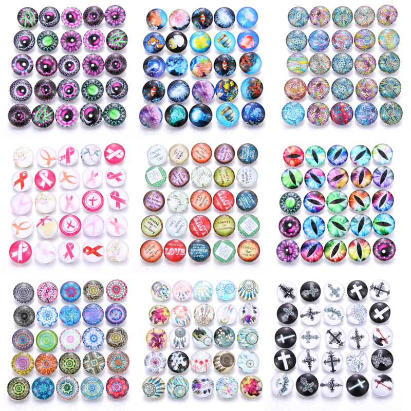 10pcs/lot Mixed Colors & Pattern 18mm Glass Snap Button Jewelry Faceted Glass Snap Fit Snap Earrings Bracelet Jewelry image