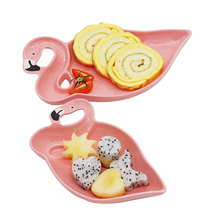 3D Flamingo Pink Ceramic Plate Sets Dishes Decoration Plates Snacks Fruit Dessert Food Dinner China Dinnerware Accessories Items