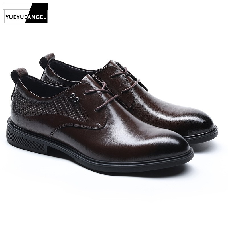 2019 New Men Luxury Genuine Leather Dress Shoes Spring Autumn Elegant Lace Up Business Derby Shoes Vintage Casual Party Footwear2019 New Men Luxury Genuine Leather Dress Shoes Spring Autumn Elegant Lace Up Business Derby Shoes Vintage Casual Party Footwear