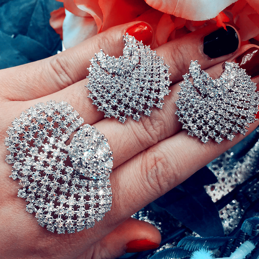 GODKI Fashion Luxury Super Shiny Feather AAA Cubic Zirconia Women Baguette Bracelet Earring And Ring Set