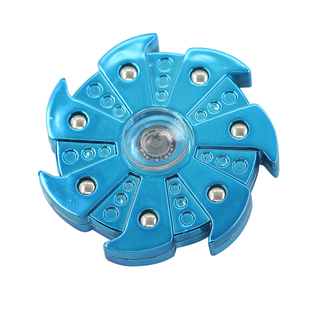 Electroplate 7 Leaves Pinwheel Hand Spinner ADHD Autism Finger Tip Spiral Toy