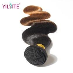 Илитэ в синьцзан волосы бразильский человеческих волос, плетение, ombre Цвет T1B/30-Реми волны волос на теле волосы Комплект s 12 дюймов-26 дюймов 1