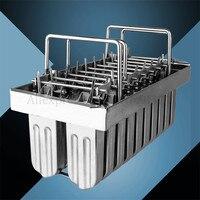 Molde para helado 304  molde para Polos de hielo de acero inoxidable  molde para paletas comerciales  soporte para palos  20 celdas/lote  6 opciones