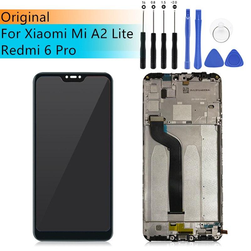 D'origine Pour Xiao mi Rouge mi 6 Pro/mi A2 Lite LCD Avec Cadre Tactile Écran lcd Digitizer Pour xiao mi mi A2 lite pantalla Remplacement