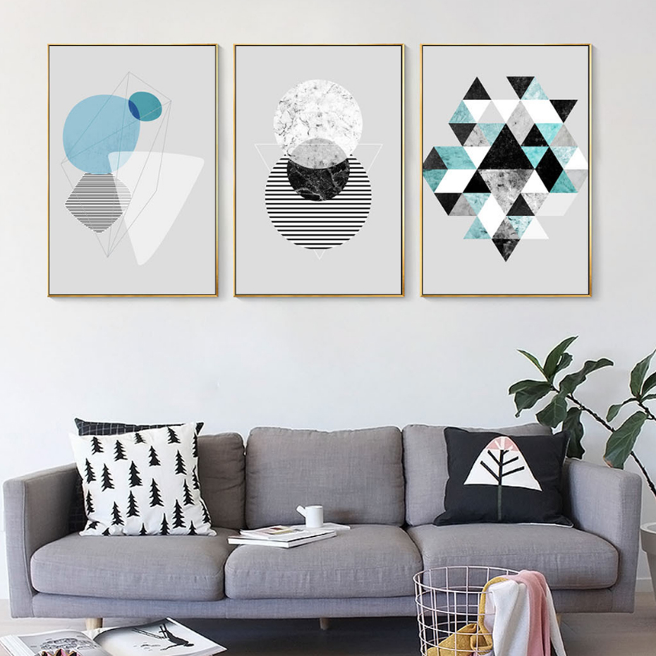 Abstract Geometric Canvas Paintings Modern Posters and ...
