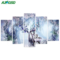 AZQSD 5D DIY Diamond Embroidery Deer Diamond Painting Cross Stitch Animal Full Square Drill Rhinestone Mosaic 5pcs Multi picture