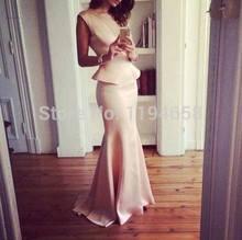 Scoop Ausschnitt Mermiad Prom Kleider Bodenlangen Satin Kleid Abendkleider Freies Verschiffen 2014