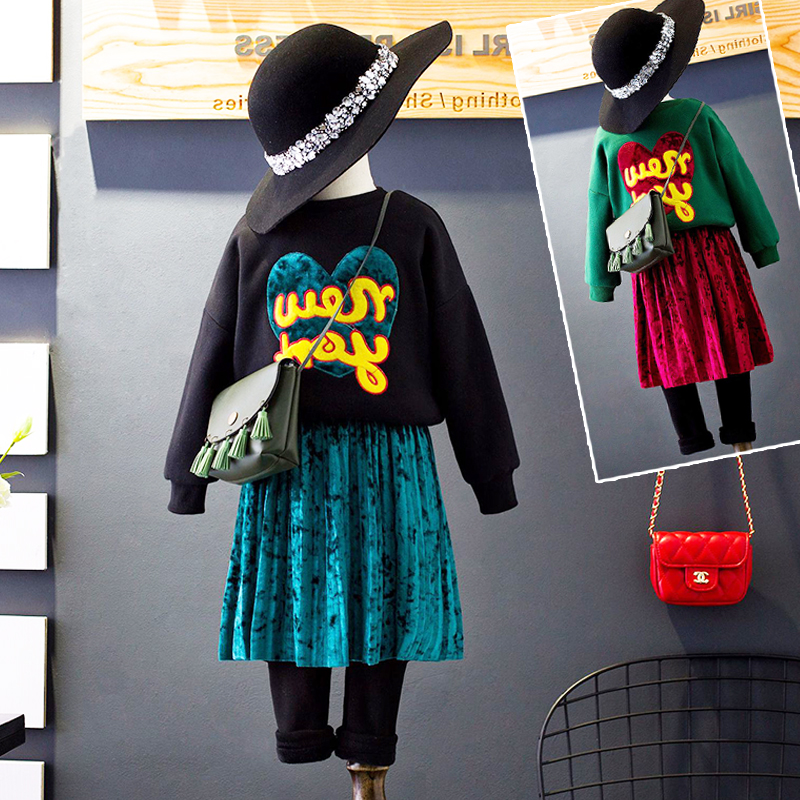 2017 autumn and winter new  girls sweater plus velvet padded suit girls long-sleeved fake two-piece skirt with sweater 2sets baby children s clothing boys and girls set sweater autumn winter warm new fashion gold velvet leisure sports two piece a8888