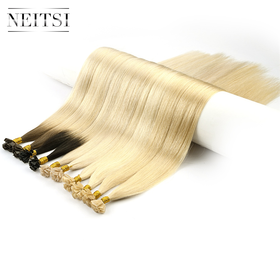 "Neitsi Double Drawn Remy Flat Tip Human Hair Extensions 24"" 1.0g/s Straight Capsules Keratin Pre Bonded Hair 100g/pack"