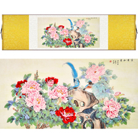 Chinese Silk watercolor flower and bird ink rich Peony two blue bird feng shui canvas wall picture damask framed scroll painting