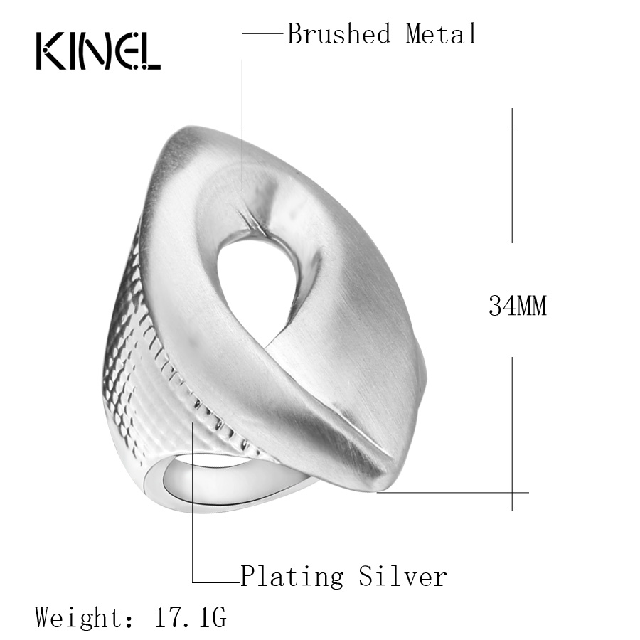 Kinel Fashion Natural Style Heavy Metal Rings For Women Silver Color - Κοσμήματα μόδας - Φωτογραφία 2